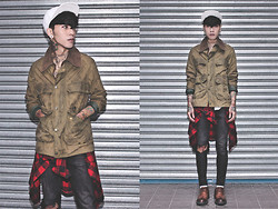 IVAN Chang - Barbour Vintage Jacket, Topshop Black Skinny, While Oxford Shoes, Vintage Plaid Shirt - 111013 TODAY STYLE