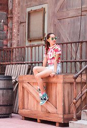 Laureen Uy - Sunski Sunnies, Romwe Top, Robinsons Shorts, S&H Sneaker Wedges - Universal Studios, Singapore (BMS)