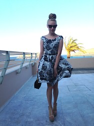 Alxndra Cook - Prada Sunglasses, Self Made Retro Dress, Miu Velvet Bag, Loeffler Randall Nude Wedges - Take me back on holiday.
