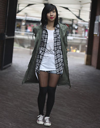 Josephine C - Bristol Parka, The Lady Sting Checkered Blouse, Primark Top, Hong Kong Shorts, Ebay Knee High Socks, Converse All Stars - Rainy day