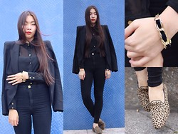 Fan Wan - Zara Black Blazer, Only Black Translucent Shirt With Gold Buttons, River Island High Waist Jeans, Pull & Bear Animal Printed Loafers, Diy By Fan Wan Gold Bracelet With Black Velvet -  kcalb