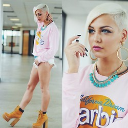 Samii Ryan - Sheinside Sweater, Jeffrey Campbell Shoes, Forever 21 Accessories, Shop Akira Shorts - I'm A Barbie Girl