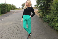 Charmaine Cowland - Topshop Fluffy Cropped Jumper, Topshop Green Silk Trousers, Topshop Spiked Sandals - 121013