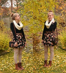 Annie Laurelle - H&M Floral Skirt, Sheinside Brown Belt, Vintage Purse, Urban Outfitters Combat Boots, H&M Cable Knit Tights - Earth has music to those who listen