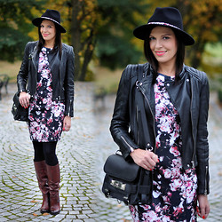 Renata M.. - Zara Hat, Zara Jacket, H&M Dress, Venezia Boots - Floral dress