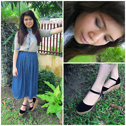 Claudia B. - Korean Store Denim Medi Skirt, Topmuk Shoes - Easy Breezy vibe :)