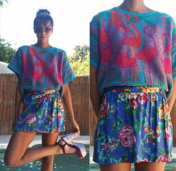 Luna Nova - Vintage Pink Flamingos Sweater, Vintage Floral Skirt, Aldo Glitter Platforms, Vintage Oversize Sunnies - We Will Become Silhouettes