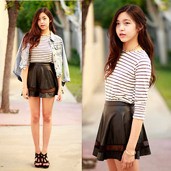 Amelia Jin - Others Follow Denim Jacket, Ara Feel Striped Top - Stripes and Chains