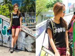 Laureen Uy - Sunski Sunnies, Revolution 9 Top, H&M Shorts, Ambry Bag, Alaia Heels - #OOTD (BMS)