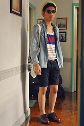 Jehan R. - Denim Throw Over, 21 Men Striped Tank, Sunnies, Shopper, Dockers Shoes - Swallowed in the Sea