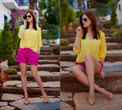 Viktoriya Sener - H&M Yellow Blouse, H&M Purple Shorts, Zara Nude Pumps - YELLOW+PURPLE