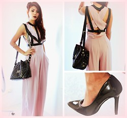 Bernadette F - Fake Leather Strap Top, Love Nude Crepe Jumpsuit, Claw Bangle, Drawstring Bucket Bag, Pointed Toe Stiletto High Heel - Your leaving had no goodbye