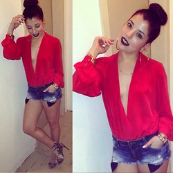 Kay M. - Vintage Blouse, Zara Short, Zara Shoes - Red night out