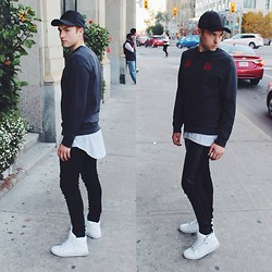 Eric Vance - Topman Jumper, Wilfred Free Baseball Cap, Supra Sneakers, Club Monaco Leather Pane Leggings, Opening Ceremony Layering Tank - SPORTS INSPIRED DETAILS