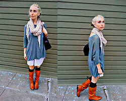 Paula Gallagher - Anthropologie Oversized Pullover, Urban Outfitters Ripped Scarf, The Frye Company Slouch Boots - Boho Chic