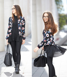 Olympia C - Sheinside Floral Bomber Jacket, Sheinside Black Blouse, Mr. Wolf Studded Biker Boots, Mulberry Favorite Bag - Fall Florals