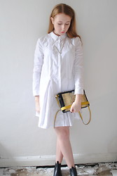 Eleanor J - Topshop Shirt Dress, Topshop Necklace, Zara Bag, Topshop Chelsea Boots - Strong.