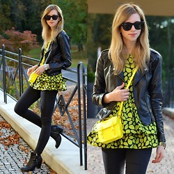 Barbora Ondrackova - Choies Leaves Dress, Choies Yellow Bucket Bag, Sheinside Fu Leather Jacket - SOME YELLOW LEAVES
