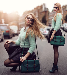 Denit Rozner - Asos Bag, Forever 21 Mint Sweater, Miss Selfridge Print Leather Skirt, H&M Ankle Boots - Back to school