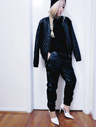 Audrey L - Leather Joggers, Quilted Bomber, Zara Heels - Black Is the New Black