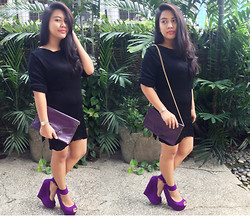 Bea Harpst - Marks And Spencer Dress, Supersale Bazaar Envelope Bag, Das Purple Wedge - Black and Purple