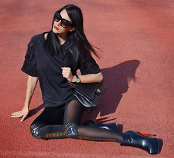 Konstantina Tzagaraki - Leggings, Blouse, Sunglasses, Chanel Bag - Gray is a cowardly excuse to mix our wants with our needs..