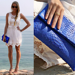Sophie Kirby - I Am Stack Gold Plated Rings, South West Ten Python Cobalt Blue Clutch, Zara White Lace Incert Dress - South West Ten