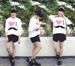 Marion Uy - Forever 21 Mustache Sweater, Zara Replica Skort, Jessica Buurman Crush Cut Out Boots, Crystal Transparent Clutch, Cotton On Studded Cap / Snapback - Notice me!