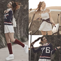 Elle-May Leckenby - 76 Sweater, Chic Wish Collard Skater Dress, Merlot Scrunchy Socks - Resort Sport