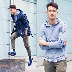Marcel Floruss - Suit Denmark Parka, Threads For Thought Hoodie, Nsf Cargo Pants, Asos Sneakers - Jump for love