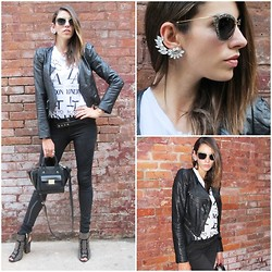 Bruna Marx - Miu Glitter Sunnies, 3.1 Phillip Lim Bag, J.Brand Skinny Jeans, Jessica Simpson Studded Booties, Forever 21 Tshirt - Keep on rockin in the free world