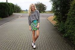 Charmaine Cowland - Pussycatlondon Glitter Jumper, Pussycatlondon Silk Skirt, Topshop Satin Loafers - 151013