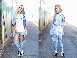 Eugénie Grey - Heavenly Couture Acid Washed Denim Jacket, Brashy Couture Fuck Off Tee, 2020ave Sporty Laced Heels - Everything is better in Japanese