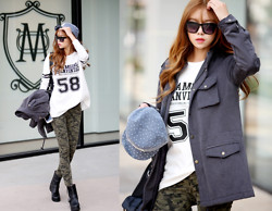 Seung Yeon - Itsmestyle 3 Color Military Skinny, Itsmestyle 3 Oz Cotton Yasang, Itsmestyle 58 Long Casual Shirt - Tough Girl Military Look