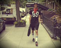 Niels Oostenbrink - American Apparel Sport Socks, Alexander Wang Shorts, Topman Perforated Shirt - Sport and the City