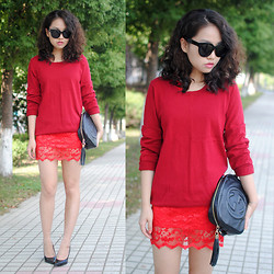 Meijia S - Zara Top, Asos Dressa, Gucci Bag - Red