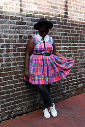 Lydia O. - La Chateau Vintage Dress, Converse Leather Chuck Taylors, Wilfred Felt Fedora - Still, I Never Want It To Go.