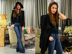 Laureen Uy - H&M Hat, The Ramp Blazer, Vintage Jeans, Manolo Blahnik Pumps - Do The Gandy (BMS)