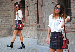 Zina CH - 3.1 Phillip Lim Bag, Zara Skirt - Checks