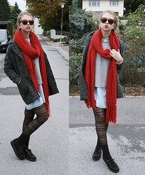 Meryl Tay - Creepers, H&M Blazer Jacket, Zara Scarf, Jeans Blouse, Vero Moda Sweater - Lovely Autumn