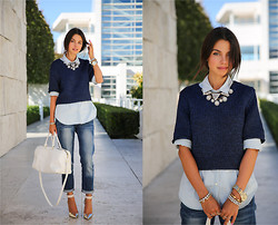 Annabelle Fleur - Gap Jeans, Gap Shirt, Baublebar Necklace, Giorgio Armani Heels - In The Navy