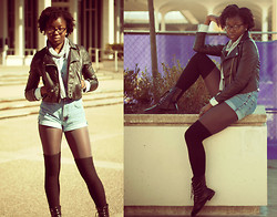 Stephanie Ukpere - H&M Leather Jacket, Gap Diy Shorts, H&M Combat Boots - Casual Comfort