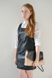 Eleanor J - Asos Shirt, Topshop Faux Leather Dress, Zara Bag - The Wire.