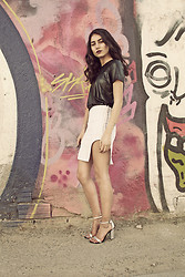 Eraclia Skoufari - Armani Exchange Leather Like Top, Stavri Frangou Skirt, Zara Shiny Heels - Unusual meets simple