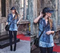 Laura Ellner - Amazon Fashion Leather Hat, Bcbg Blouse, Citizens Of Humanity Cutoffs, Hue Tights - BLACK AND BLUE