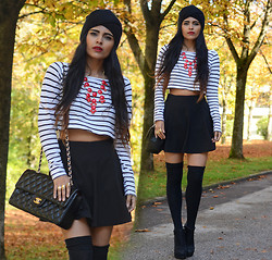 Kavita D - Black Knit Turban, Ebay Red Bubble Necklace, H&M Stripe Crop, Romwe Black Skater Skirt, Ebay Black Over The Knee Socks - Wake me up.