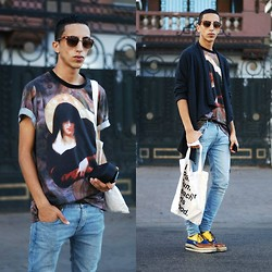 Driss Khadim - Givenchy Madonnaprint Tee Shirt, Cheap Monday Cheapmonday Skinny, Prada Sneekers, Marc By Jacobs - Madonna Print