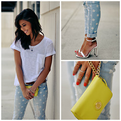Love Yna - Zara Ankle Strap Stiletto Sandals, Tommy Hilfiger Neon Wallet, Zara Classic White Tee, Target Polka Dot Distressed Skinnies - Neon Brunch
