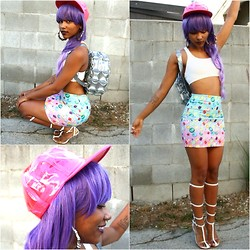 Robyn The Bank - O Mighty Weekend Jewel Skirt, Sports Bra, 24 Hrs Pink Transparent Hat, Jeffrey Campbell Lavish, Lip Service Purple Wig, The Cobra Shop Bubble Backpack - JEWEL .......