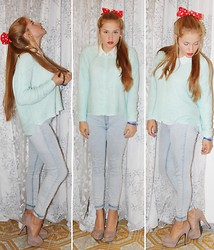 Katherine Roguska - H&M Jumper, Zara Jeans, No Name High Heels Nude - Red.♥
